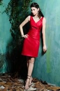 Ruched V neck Red Satin Knee Length Sheath Formal Dress
