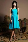 A line One Shoulder Ruched Knee Length Blue Chiffon Homecoming Dress