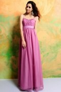 Ruched Spaghetti Chiffon Fuchsia Long A line Formal Dress