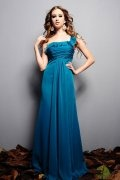 Ruffle One Shoulder Chiffon Long A line School Formal Dress