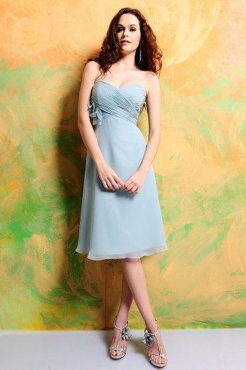Ruched Sweetheart Chiffon Knee Length A line Bridesmaid Dress