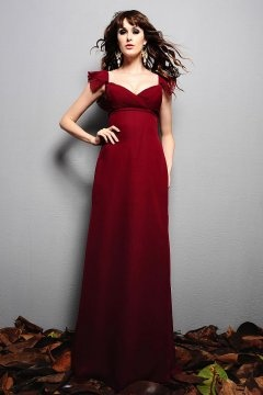 Falmouth Sweetheart Empire Cap Sleeve Burgundy Evening Gown
