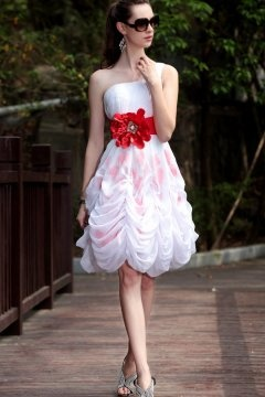One Shoulder Pick Up Flowe Short White Prom Dress In Stock