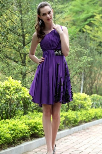 One Shoulder Purple Beading Ruching Chiffon Prom / Cocktail Dress
