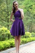One Shoulder Purple Beading Ruching Chiffon Prom / Cocktail Dress