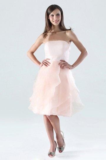 Ruffle Strapless Organza Short A line Bridesmaid Dress