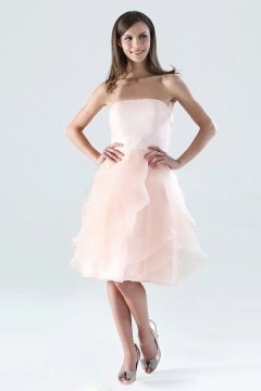 Kenilworth Organza Strapless Ruffle Short Pink Bridesmaid Dress