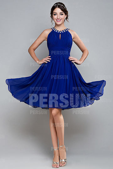 Dressesmall Beading Round Neck Short Chiffon A line Formal Dress