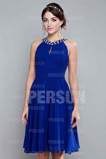 Robe bleue de soirée courte
