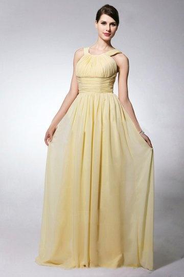 Chic A-Linie Empire gelbes Rund-Ausschnitt Abendkleider aus Chiffon Persun