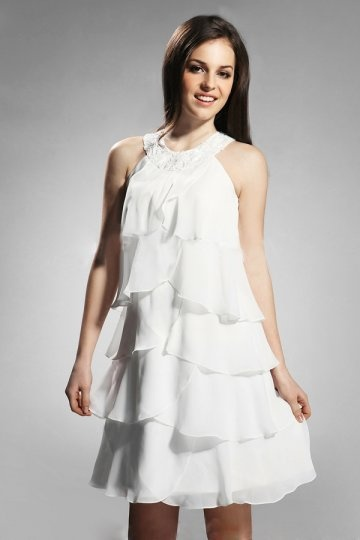 Dressesmall Ruffle Round Neck Chiffon White Short A line Formal Dress