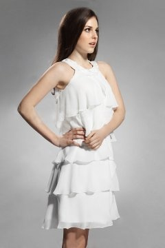Kettering Round Neck Ruffle Short White Cocktail Gown