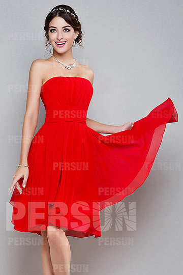 Simple A line Strapless Ruched Knee Length Red Chiffon Homecoming Dress