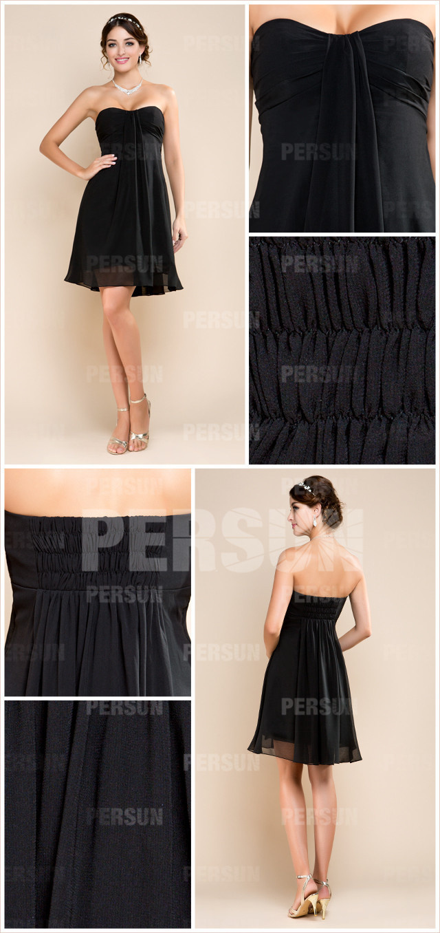 Black Ruched Sweetheart Knee Length Chiffon A line Formal Dress