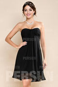 Ruched Sweetheart Knee Length Chiffon A line Formal Dress