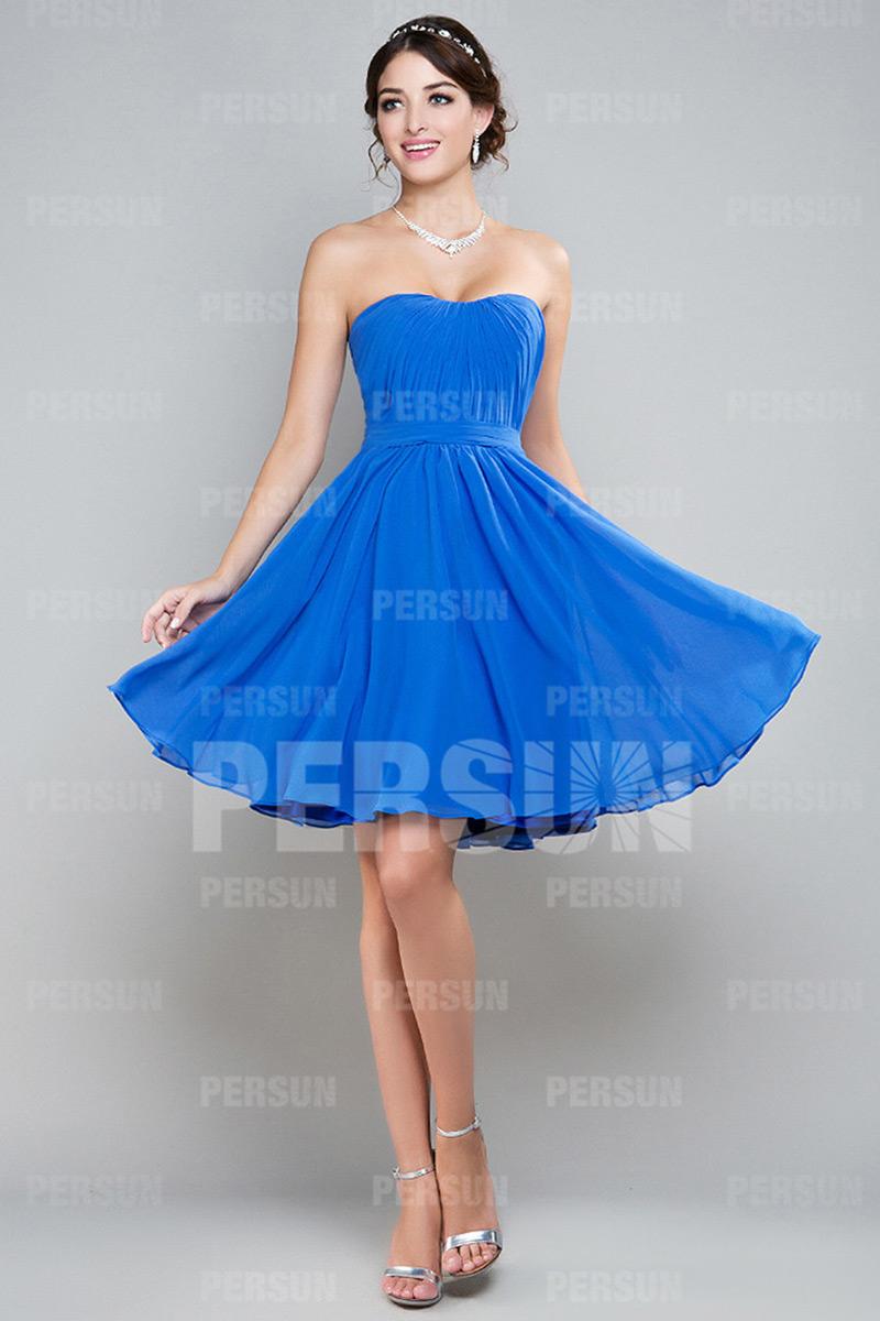 A-Linie Herz-Ausschnitt Empire Falten blau Brautjungfernkleid aus Chiffon