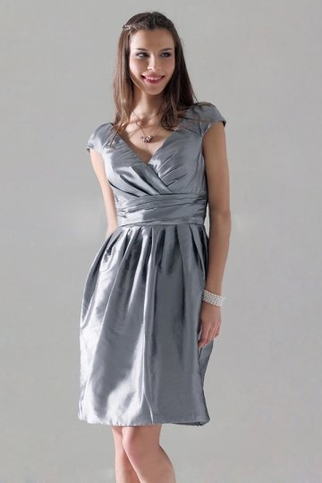 Dressesmall Pleated V neck Silver Taffeta A line Formal Dress
