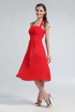 Robe demoiselle d'honneur rouge avec bretelle au cou