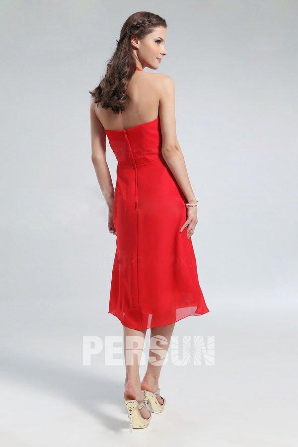 robe demoiselle d 39 honneur rouge avec bretelle au cou. Black Bedroom Furniture Sets. Home Design Ideas