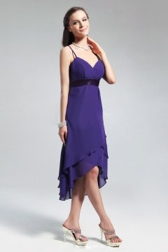 Chiffon Sash Spaghetti V neck A line Bridesmaid Dress