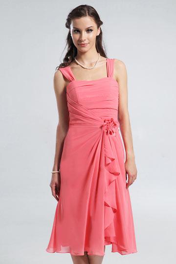 Strap Ruched Knee Length A-line Chiffon Bridesmaid Dress