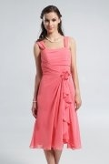 Ruched Straps Knee Length Chiffon A line Formal Dress