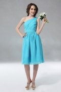 Ruched One Shoulder Knee Length Chiffon Blue A line Formal Dress