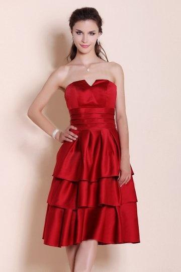 g nstig elegantes a linie rotes knielanges rmelloses abendkleid aus satin online verkauf persun. Black Bedroom Furniture Sets. Home Design Ideas
