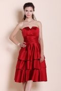 Tiered Strapless Knee Length Satin Red A line Formal Dress