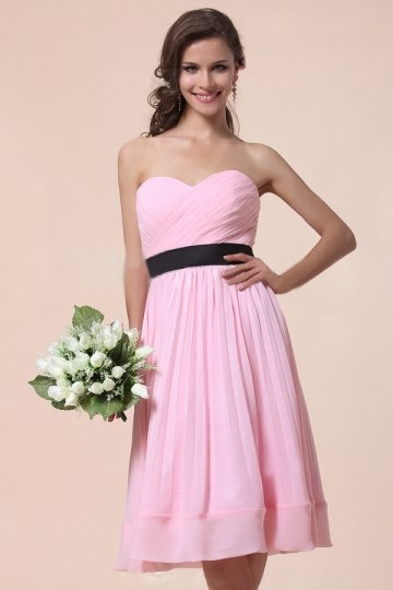 Ruched Sweetheart Knee Length Chiffon Pink A line Bridesmaid Dress