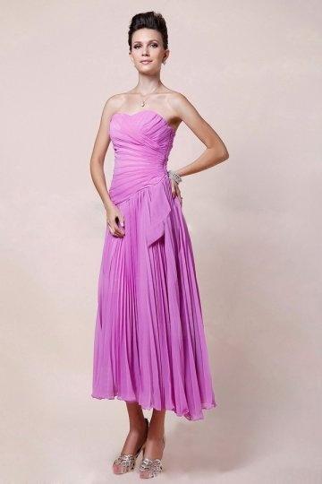 Ruched Sweetheart Tea Length Chiffon A line Bridesmaid Dress