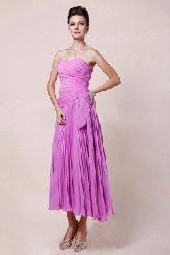 Femme robe bustier ruchée longue fuchsia en mousseline