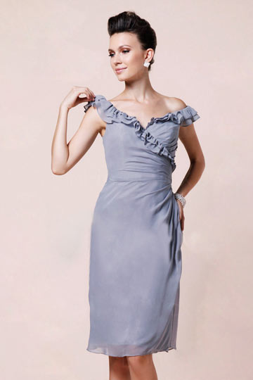 Dressesmall Ruffle Off Shoulder Knee Length Chiffon Gray Sheath Formal Dress