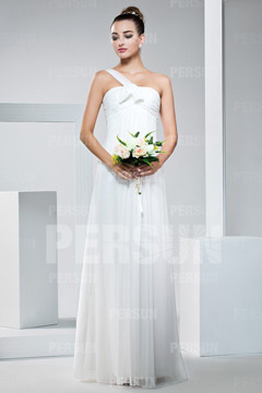 Chiffon One Shoulder Empire Ruched Floor Length Bridesmaid Dress
