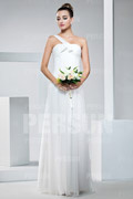 Ruched One Shoulder Chiffon Sheath Bridesmaid Dress