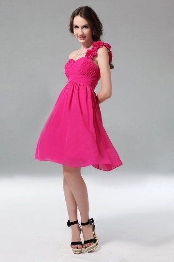 A line One Shoulder Ruched Flower Knee Length Homecoming Dress