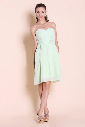 Ruched Flower Sweetheart Chiffon Knee Length A line Bridesmaid Dress