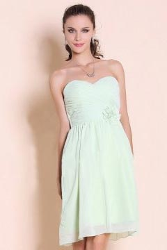Ruched Flower Sweetheart Chiffon Knee Length A line Formal Dress
