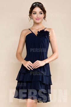 Chic Chiffon V neck Flower Tiered Ruffle Knee Length Bridesmaid Gown