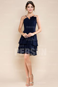 Tiered Ruffle V neck Chiffon Knee Length A line Formal Dress