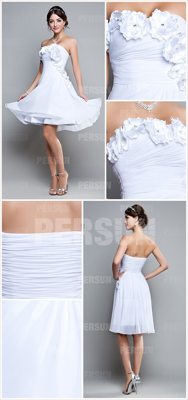 white chiffon flowers a line formal dress details