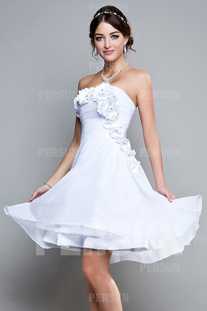 Dressesmall Flower Ruched Strapless Chiffon Knee Length A line Formal Dress