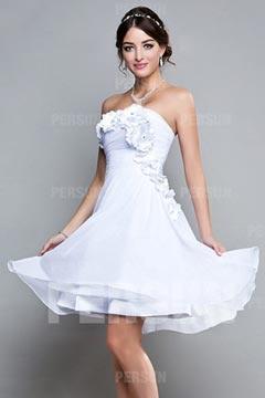 A Linie Blume gefaltetes knielanges Brautjungfernkleid