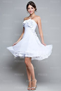 Flower Ruched Strapless Chiffon Knee Length A line Formal Dress