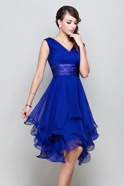 Elegantes A Linie V Ausschnitt Blaues Knielanges Abendkleider Persun