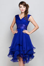 Femme robe de cocktail bleu royal col en v en mousseline