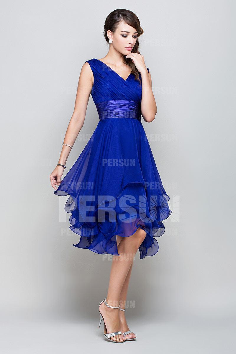 Elegantes A Linie V Ausschnitt Blaues Knielanges Abendkleider