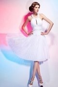 Ruched Beading Halter Chiffon White A line Knee Length Formal Dress