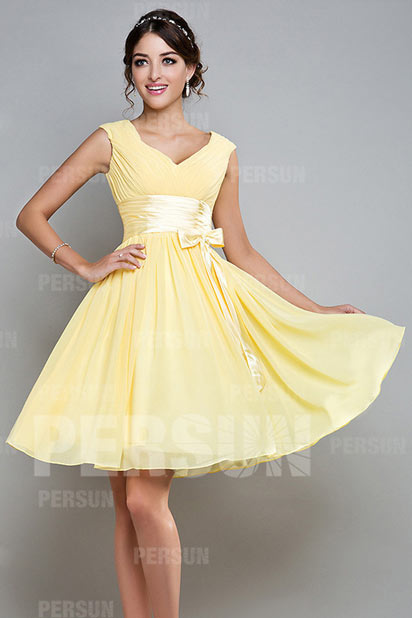 V-neck Yellow Ruching Sash A-line Chiffon Bridesmaid Dress