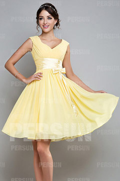 Chiffon Ruching Sash V neck Yellow A line Bridesmaid Dress